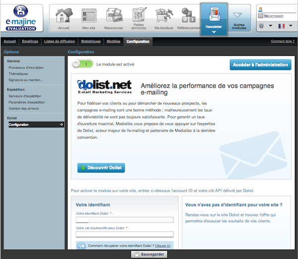 Site d'évaluation : formationnico.s10381.m15.atester.fr - e-majine version 1.9alpha ->Newsletter->Configuration
